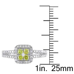 Miadora  14k White Gold 1/2ct TDW Yellow and White Diamond Halo Ring (G-H, I1-I2)