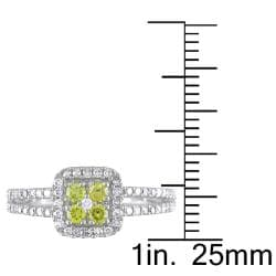 Miadora 14k White Gold 1/2ct TDW Yellow and White Diamond Halo Ring - Thumbnail 2