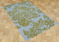 Eastern Colors Marine Blue Hand-Made tufted Wool Rug 8x10 - Thumbnail 1