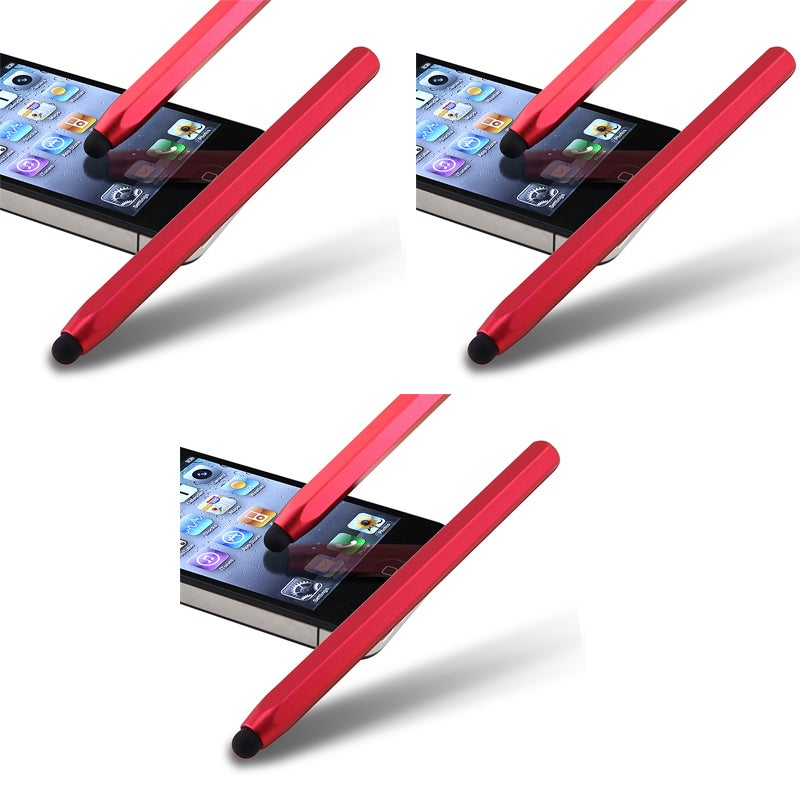Red Metal Stylus for Apple iPhone/ iPod/ iPad (Pack of 3)
