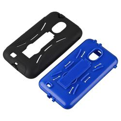 Blue/ Black Hybrid Case with Stand for Samsung Epic 4G Touch D710 - Thumbnail 1