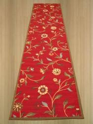 Red Transitional Floral Euro Home Rug (2'7 x 9'10) - Thumbnail 1