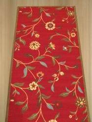 Red Transitional Floral Euro Home Rug (2'7 x 9'10) - Thumbnail 2