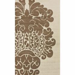 nuLOOM Handmade Modern Damask Ivory Wool Rug (8'3 x 11')