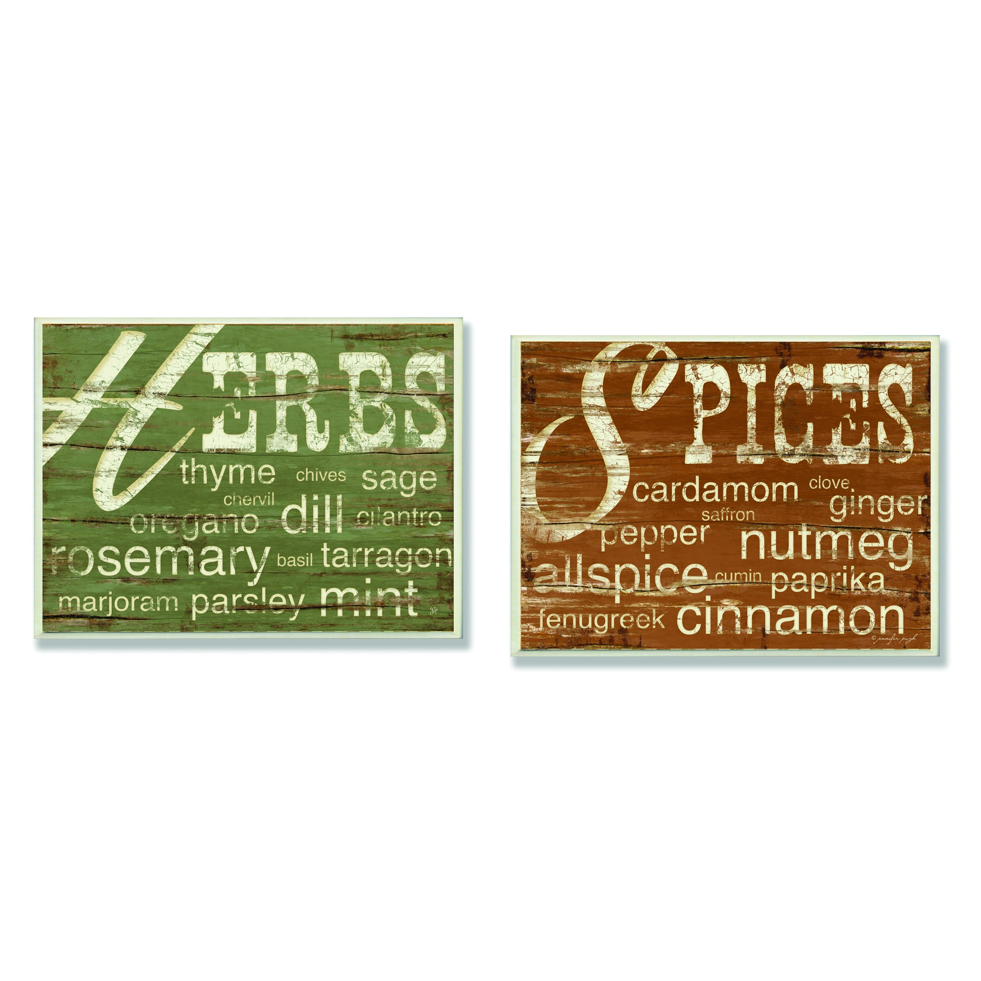Kitchen Wall Plaques: Kitchen 'Herbs And Words'/ 'Spices And Words' Wall Plaques