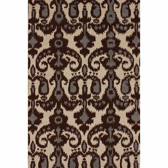 nuLOOM Handmade Modern Ikat Natural Wool Rug (7'6 x 9'6)
