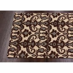 nuLOOM Handmade Modern Ikat Natural Wool Rug (7'6 x 9'6) - Thumbnail 1