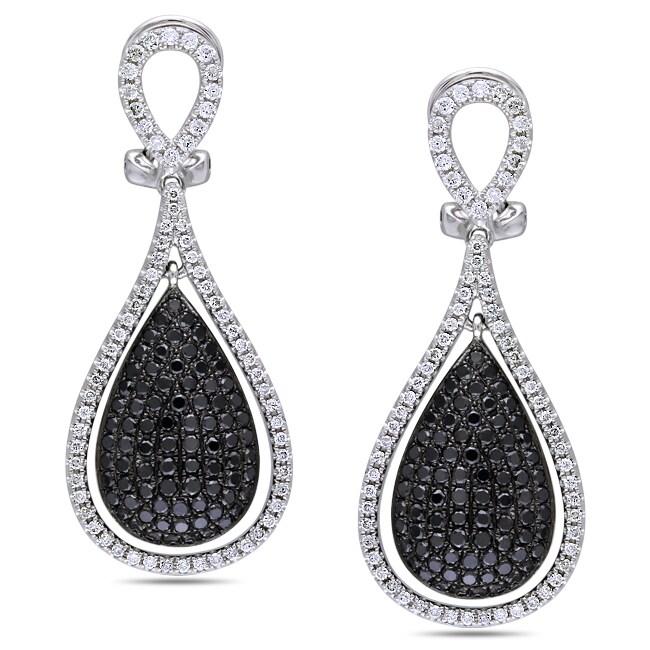 Miadora  14k White Gold 2-3/4ct TDW Black and White Diamond Earrings (G-H, SI1-SI2)