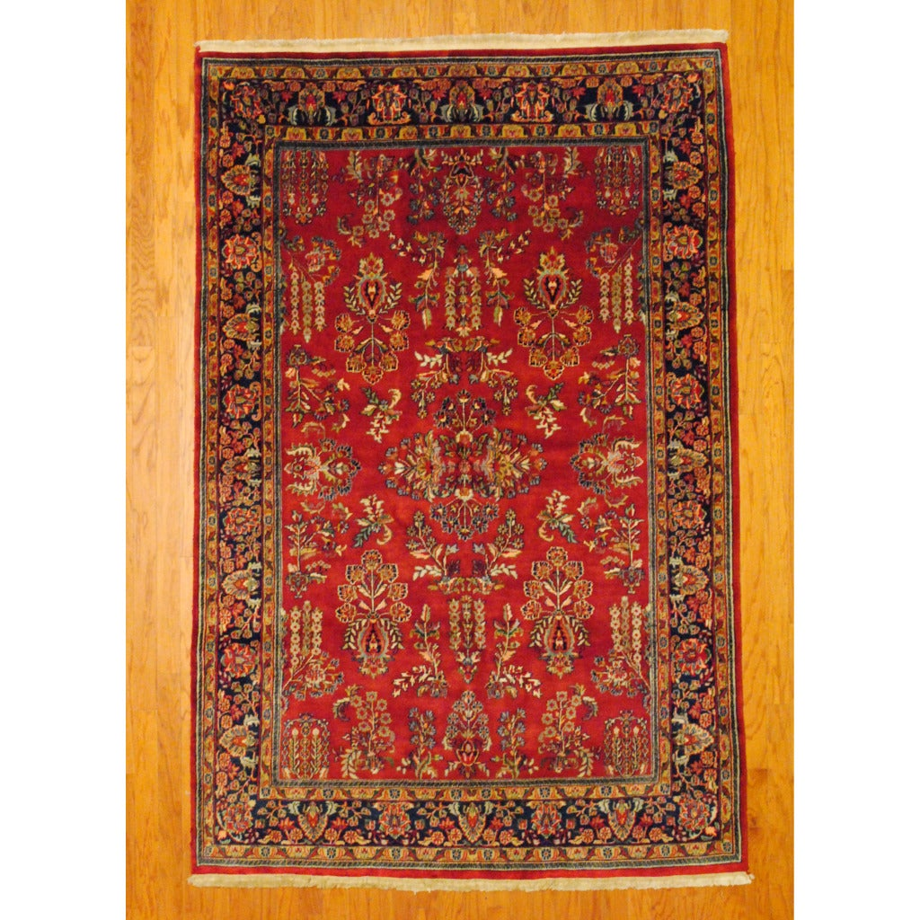 Indo Hand-knotted Sarouk Red/ Navy Wool Rug (6' x 9')
