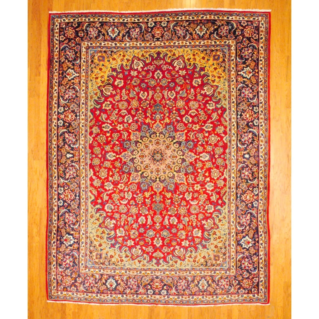 Persian Hand-knotted Isfahan Red/ Navy Wool Rug (10'1 x 13'3)