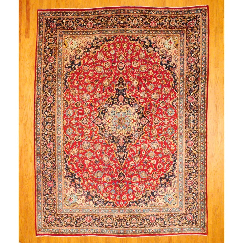Persian Hand-knotted Mashad Red/ Navy Wool Rug (9'10 x 13'2)