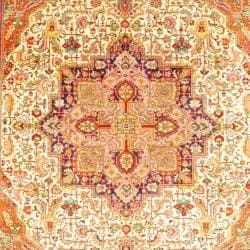 Persian Hand-knotted Tabriz Ivory/ Navy Wool Rug (9'10 x 12'7)