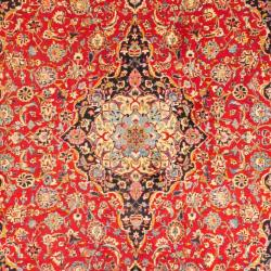 Persian Hand-knotted Mashad Red/ Navy Wool Rug (9'10 x 13'2) - Thumbnail 1