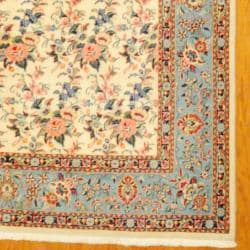 Persian Hand-knotted Sarouk Ivory/ Light Blue Wool Rug (6'9 x 8'10) - Thumbnail 2