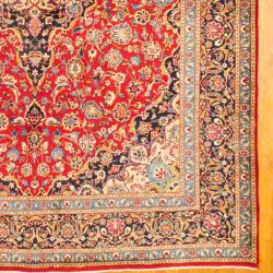 Persian Hand-knotted Mashad Red/ Navy Wool Rug (9'10 x 13'2) - Thumbnail 2