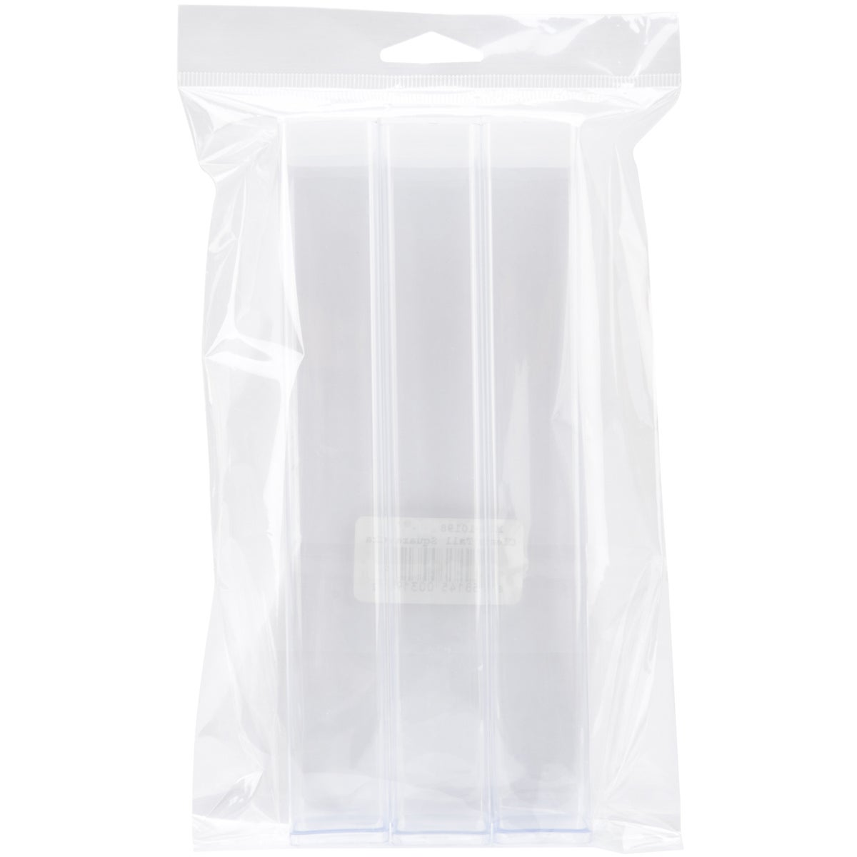 """Clear Tall Square Craft Tube 8"""" 3/Pkg"""