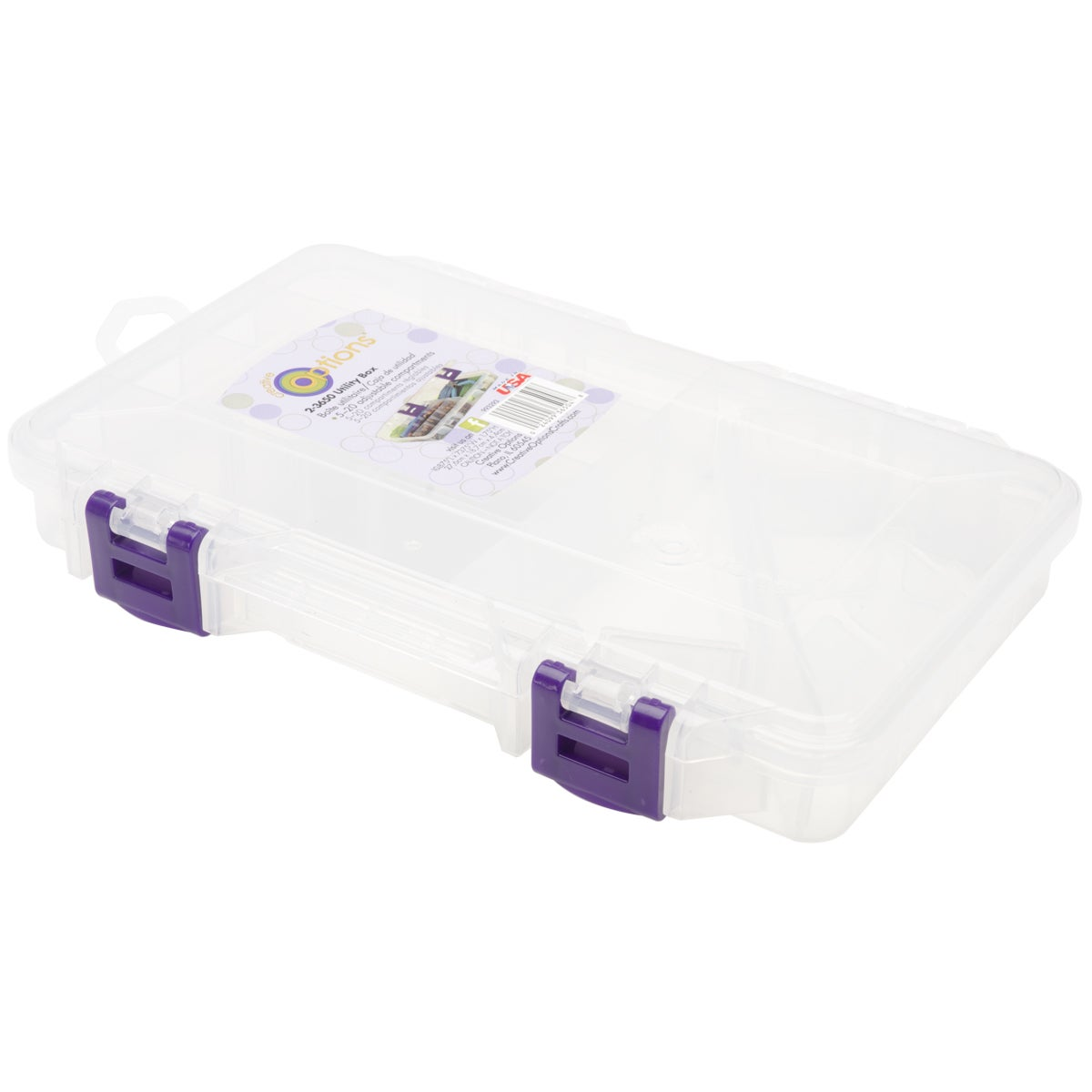 Creative Options Adjustable Organizer-Clear/Purple Latch