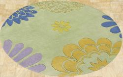 Alliyah Handmade Bright Lime Green New Zealand Blend Wool Rug (6' Round)
