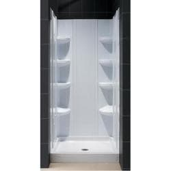 Butterfly Shower Door, 32 x 32 Trio Shower Base, QWALL-3 Backwall Combo - Thumbnail 1