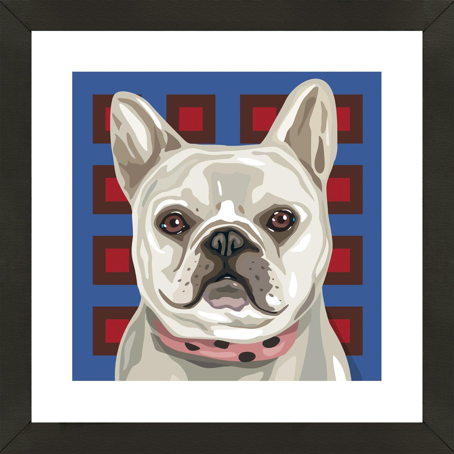 Framed French Bulldog Giclee Print Photo