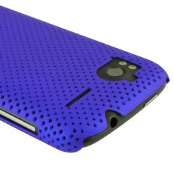 Blue Rubber Coated Meshed Case/ LCD Protector for HTC Sensation 4G