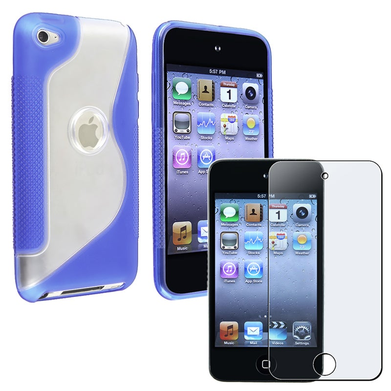 TPU Case/ Anti-glare LCD Protector for Apple iPod Touch Generation 4