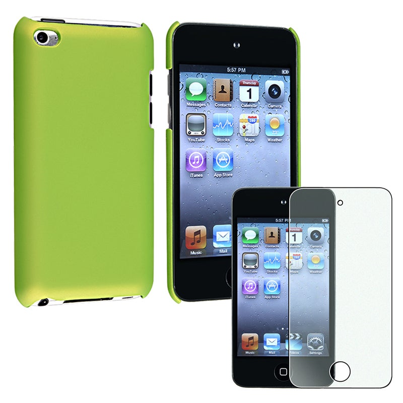 Green Case/ Diamond LCD Protector for Apple iPod Touch 4th Generation