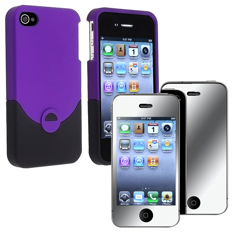 Purple/ Black Case/ Mirror Screen Protector for Apple iPhone 4/ 4S