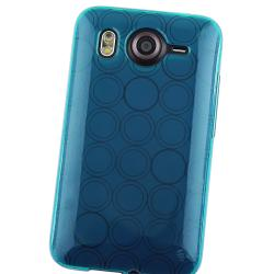 Blue Circle TPU Skin Case/ LCD Protector for HTC Inspire 4G/ Desire HD