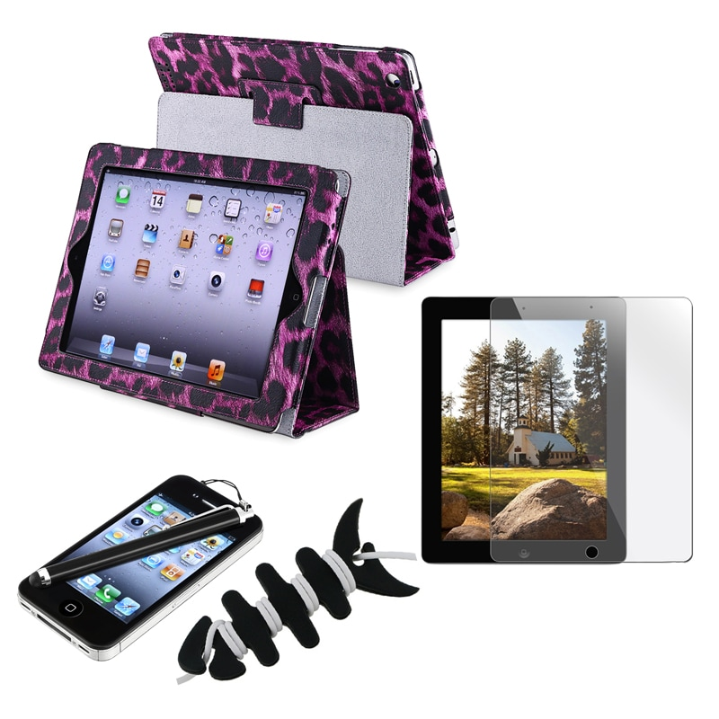 Leather Case/ Screen Protector/ Wrap/ Stylus for Apple iPad 2/ 3