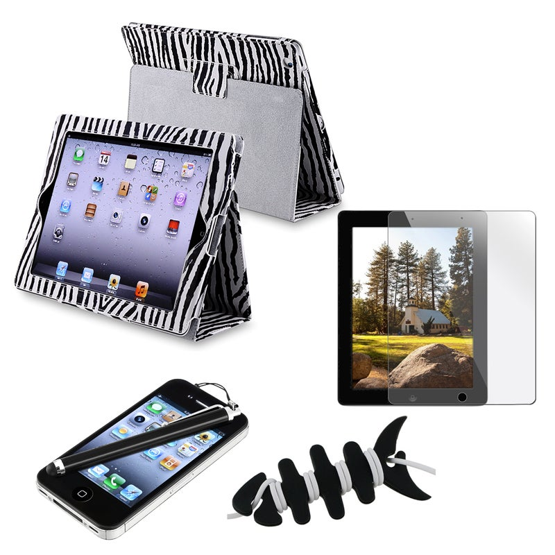 Black Leather Case/ Screen Protector/ Stylus/ Wrap for Apple iPad 2/ 3