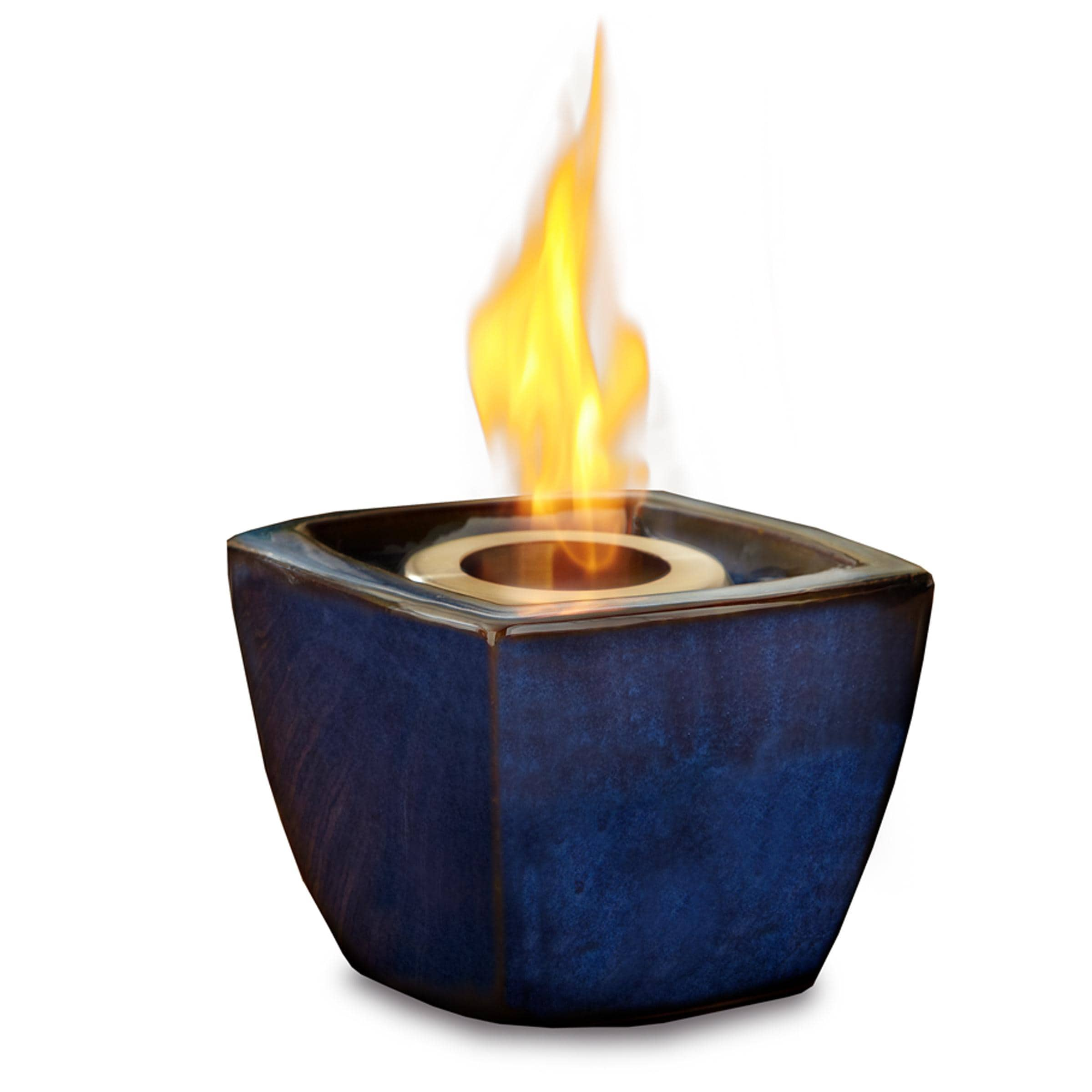 Real Flame Blue Ceramic Fire Pot