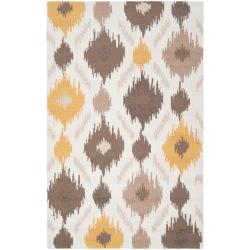 "Transitional Hand-Hooked Gold Benton Rug (3'6"" x 5'6"")"