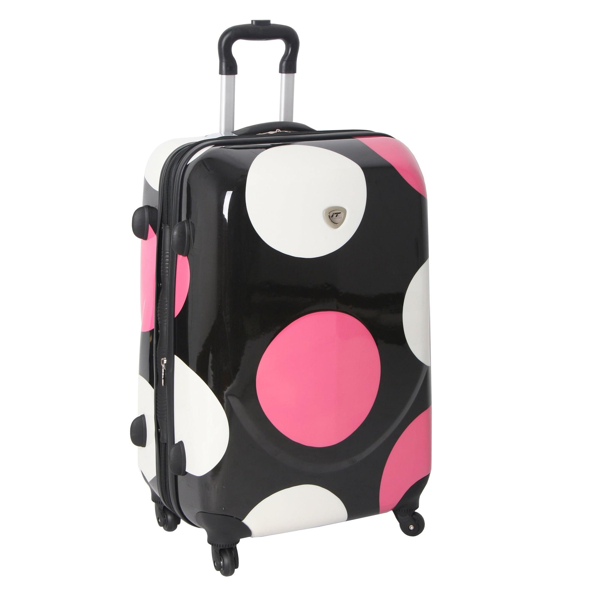 International Traveller Pink Shiny Large Dots 28-inch Hardside Spinner Upright