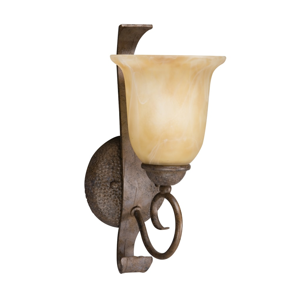 Transitional 1-light Aged Iron Wall Sconce