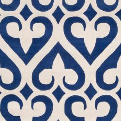 Jill Rosenwald Hand-tufted Blue Reelan Geometric Fleur D Lis Wool Rug (3'3 x 5'3)
