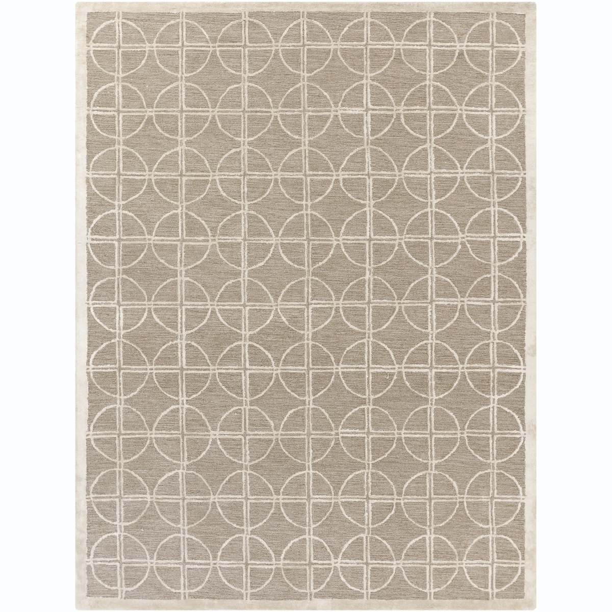 Hand-tufted Mandara Beige Wool Blend Rug (7'9 x 10'6)