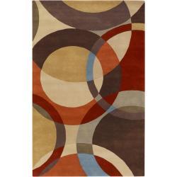 Hand-tufted Arima Bay Brown Geometric Circles Wool Rug (6' x 9')