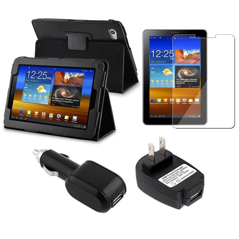 Leather Case/ Screen Protector/ Chargers for Samsung Galaxy Tab 7.7