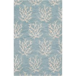 Hand-tufted Bacelot Bay Blue Beach Inspired Wool Rug (3'3 x 5'3)
