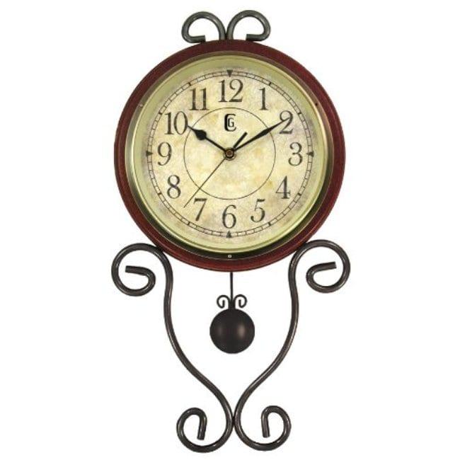 Geneva Brown Wrought Iron Pendulum Wall Clock