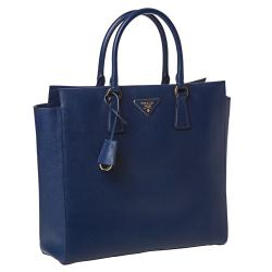 Prada 'Saffiano Lux' Navy Blue Leather Tote Bag - Thumbnail 1