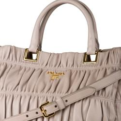 Prada 'Nappa' Taupe Ruched Leather Tote Bag