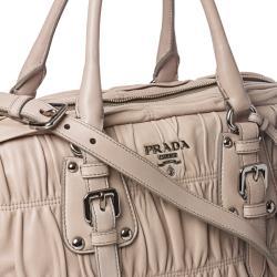 Prada Beige Ruched Leather Bowler Bag