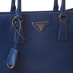 Prada 'Saffiano Lux' Navy Blue Leather Tote Bag - Thumbnail 2