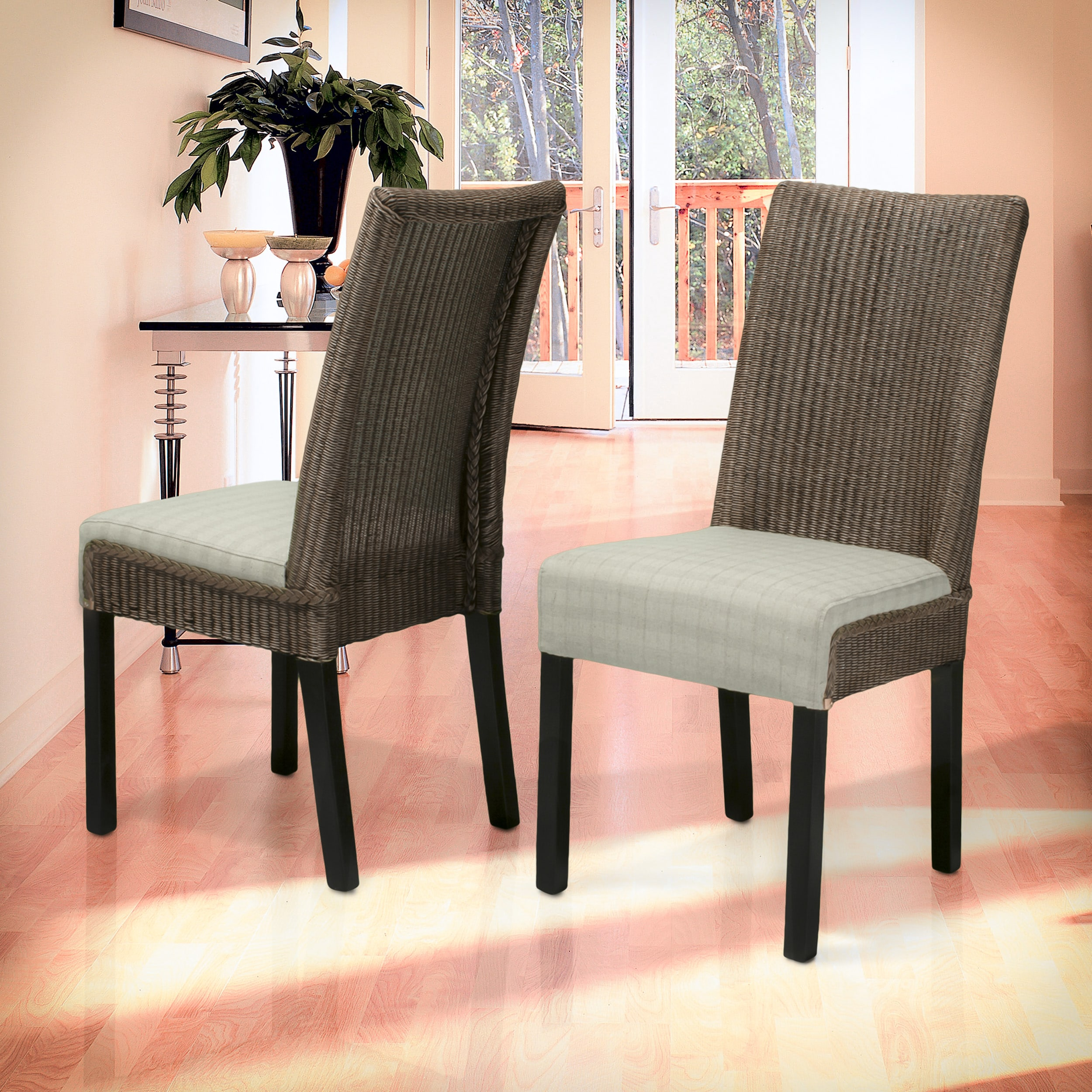 Samson Brown and Beige Rattan and Linen Dining Chairs (Set of Two) by Christopher Knight Home