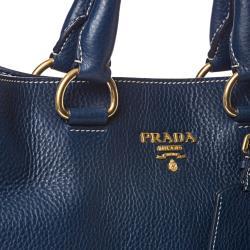 Prada 'Daino' Navy Leather Tote Bag