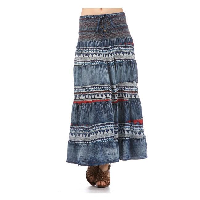 Tabeez Women's Denim Embroidered Maxi Skirt