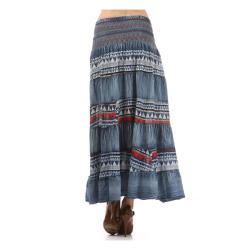 Tabeez Women's Denim Embroidered Maxi Skirt - Thumbnail 1