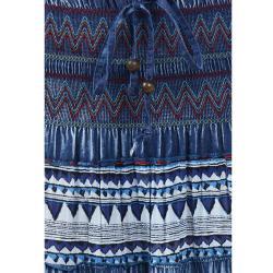 Tabeez Women's Denim Embroidered Maxi Skirt - Thumbnail 2